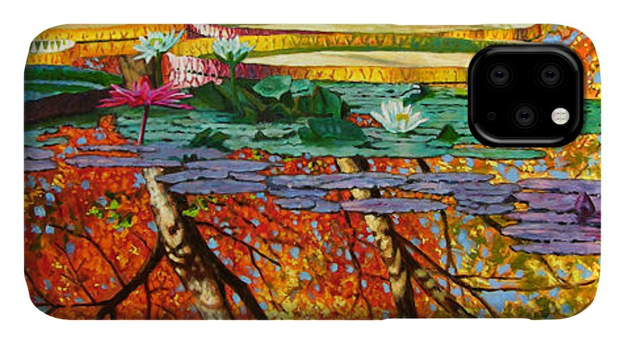 Garden Pond IPhone Case featuring the painting Fall Reflections 2 by John Lautermilch