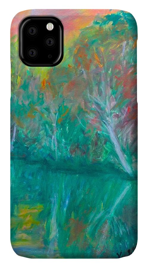 Lake Reflection Prints For Sale IPhone Case featuring the painting Fall Reflections At Peaks Of Otter Stage One by Kendall Kessler