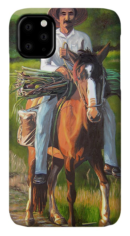 Cuban Art IPhone 11 Case featuring the painting Farmer On A Horse by Jose Manuel Abraham