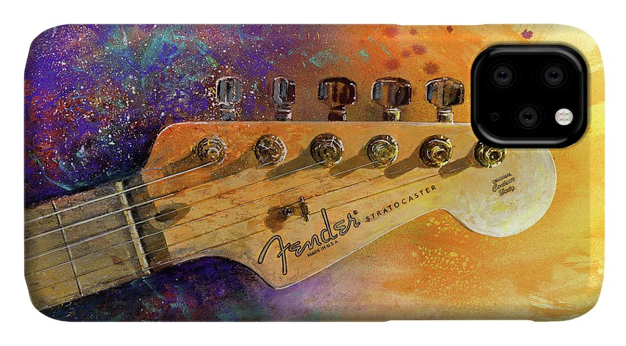 Fender Stratocaster IPhone Case featuring the painting Fender Head by Andrew King