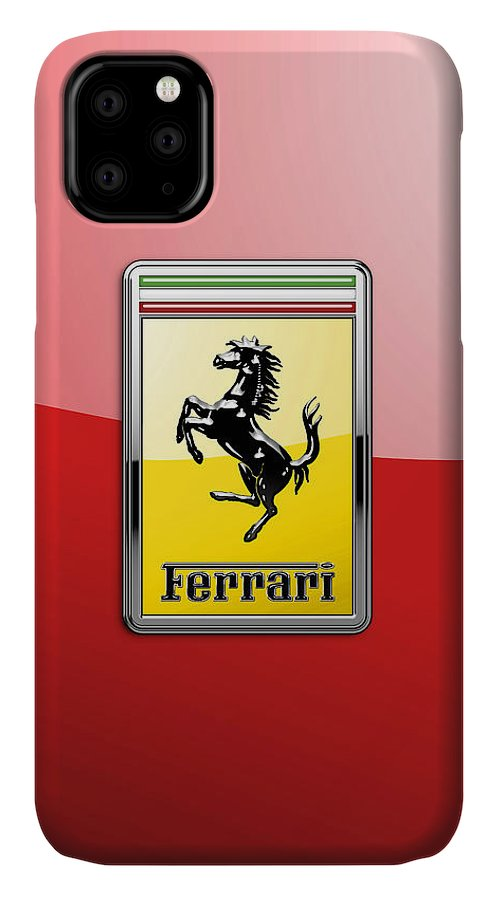 �auto Badges� Collection By Serge Averbukh IPhone 11 Case featuring the photograph Ferrari 3D Badge-Hood Ornament on Red by Serge Averbukh