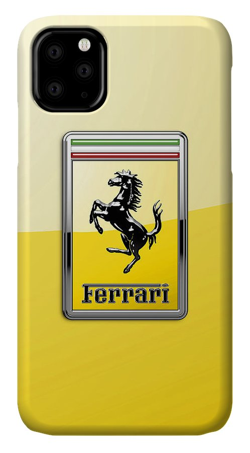 �auto Badges� Collection By Serge Averbukh IPhone Case featuring the photograph Ferrari 3D Badge- Hood Ornament on Yellow by Serge Averbukh