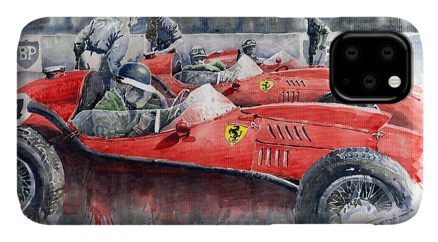 Car IPhone Case featuring the painting Ferrari Dino 246 F1 1958 Mike Hawthorn French Gp by Yuriy Shevchuk