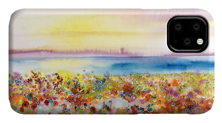 Abstract IPhone Case featuring the painting Field Of Joy by Tara Thelen - Printscapes