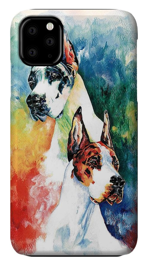 Great Dane IPhone Case featuring the painting Fire And Ice by Kathleen Sepulveda