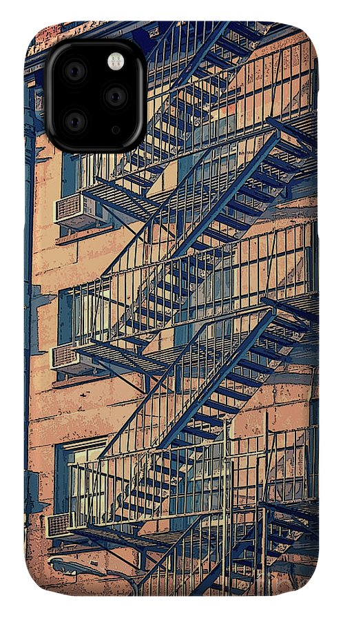 New York IPhone 11 Case featuring the drawing Fire Escape by Delphimages Photo Creations