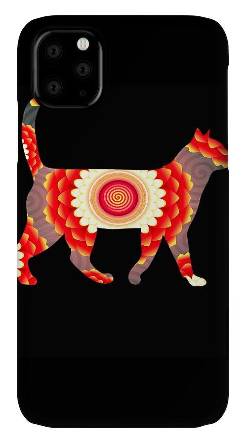Cat IPhone Case featuring the digital art Fire flower cats by Kaylin Watchorn