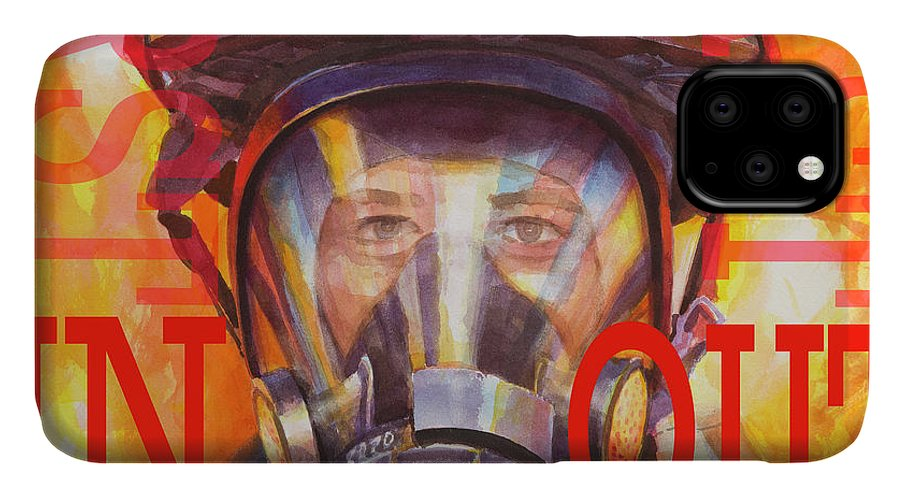 Firefighter IPhone Case featuring the painting Firefighter by Steve Henderson