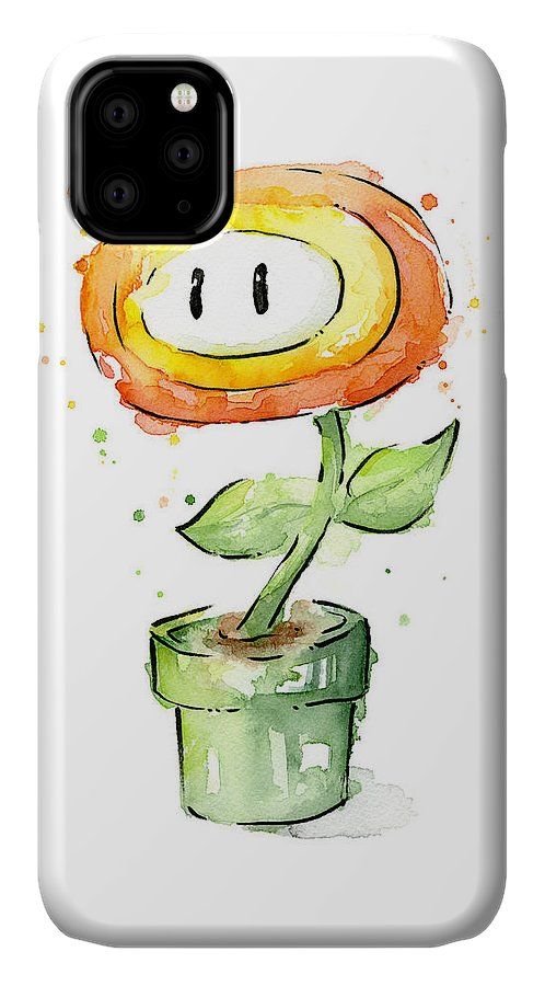Nintendo IPhone Case featuring the painting Fireflower Watercolor Painting by Olga Shvartsur