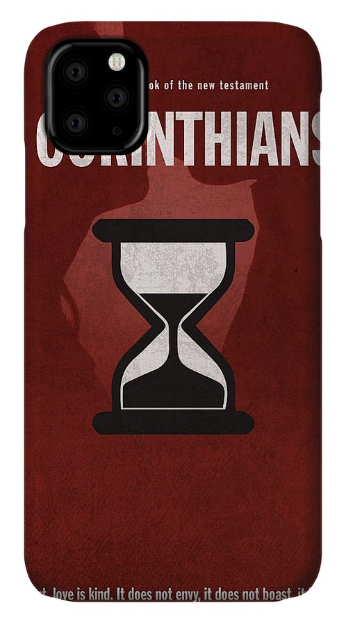 First Corinthians IPhone Case featuring the mixed media First Corinthians Books Of The Bible Series New Testament Minimal Poster Art Number 07 by Design Turnpike