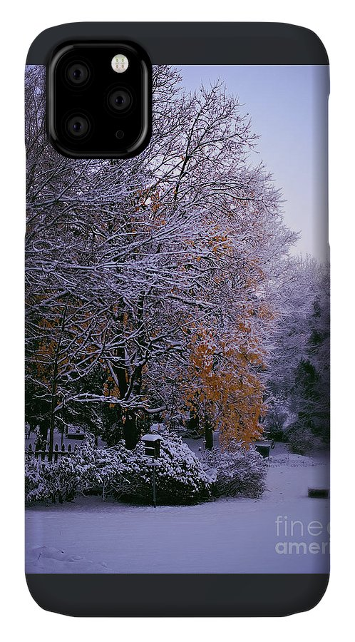 Gold Leaves IPhone Case featuring the photograph First Snow After Autumn by Frank J Casella