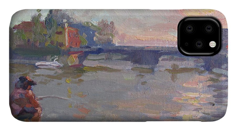 Fishing IPhone Case featuring the painting Fishing At Sunset by Ylli Haruni
