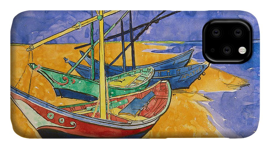 Fishing IPhone Case featuring the painting Fishing Boats On The Beach At Saintes Maries De La Mer by Vincent Van Gogh
