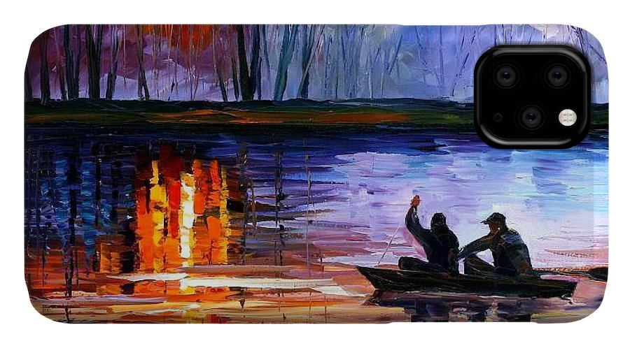 Seascape IPhone Case featuring the painting Fishing On The Lake by Leonid Afremov