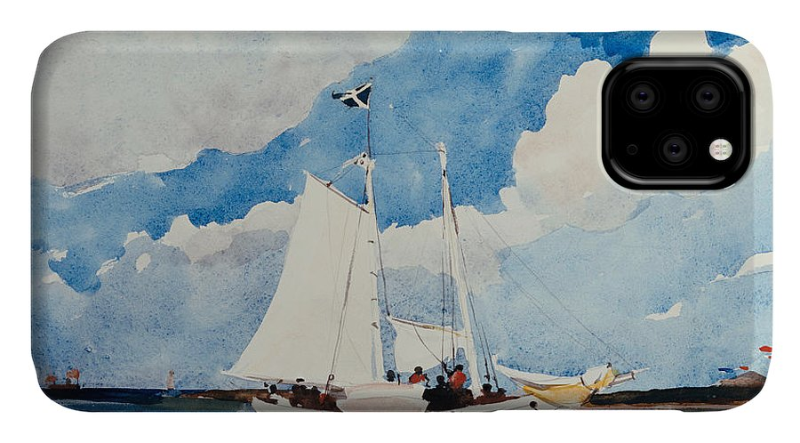Boat IPhone Case featuring the painting Fishing Schooner In Nassau by Winslow Homer