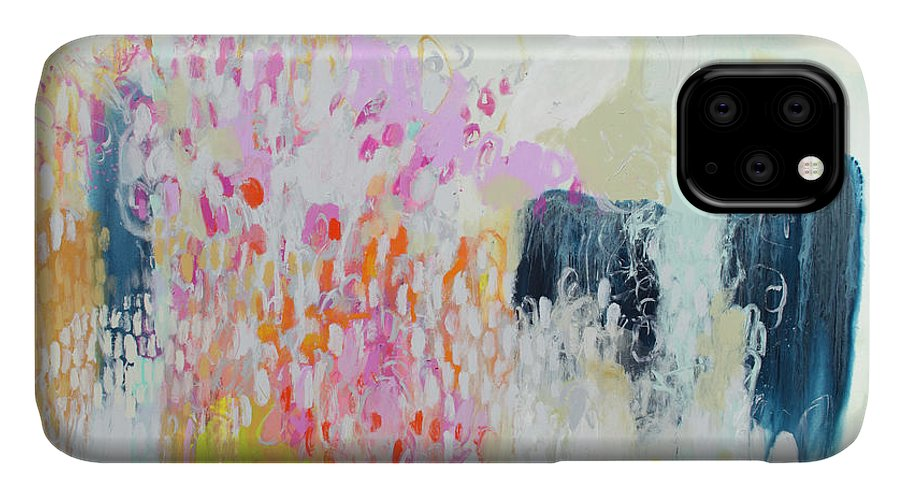 Abstract IPhone 11 Case featuring the painting Fizz by Claire Desjardins