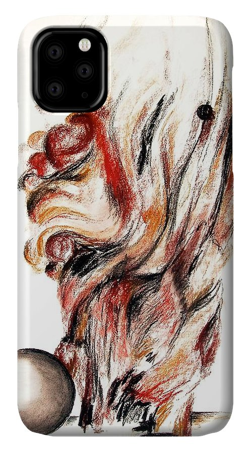 Still Life IPhone Case featuring the drawing Flamme en bois by Muriel Dolemieux