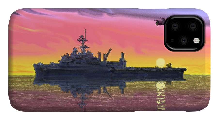 Uss Juneau IPhone Case featuring the photograph Flight Ops At Sunset by Donald Maier