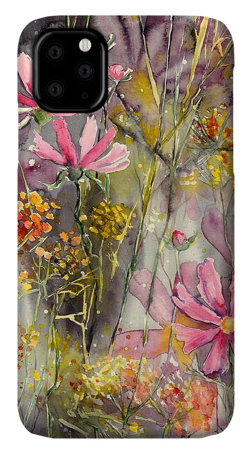 Pink IPhone Case featuring the painting Floral Cosmos by Suzann Sines