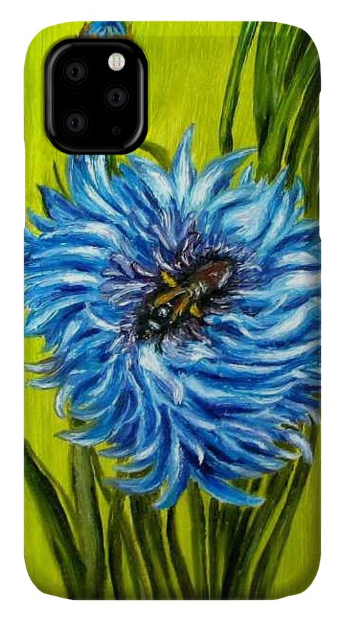 Flower IPhone Case featuring the painting Flower And Bee Oil Painting by Natalja Picugina