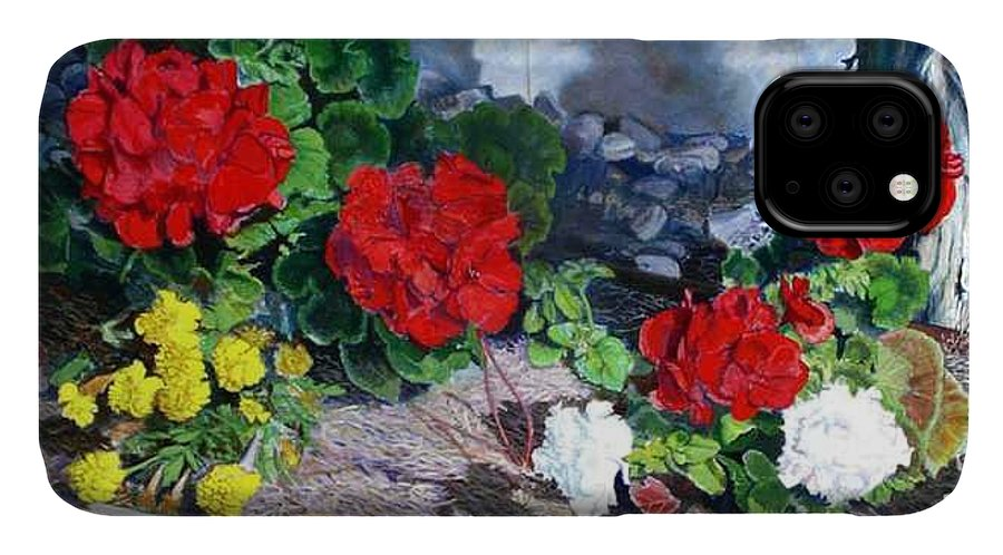 Colorful Flowers Outside Of The Church IPhone Case featuring the painting Flowers At Church by Scott Robertson