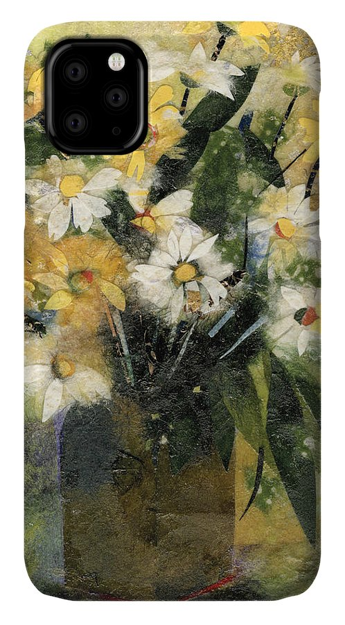 Limited Edition Prints IPhone Case featuring the painting Flowers in white and yellow by Nira Schwartz