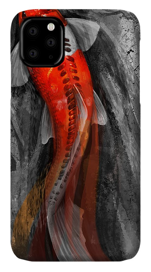 Koi Art IPhone 11 Case featuring the digital art Flowing Koi by Steve Goad