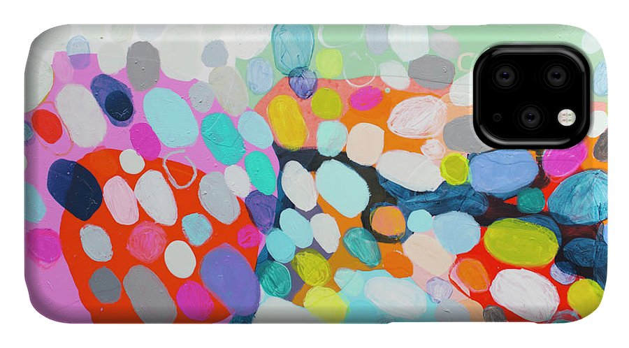 Abstract IPhone Case featuring the painting Flushed by Claire Desjardins
