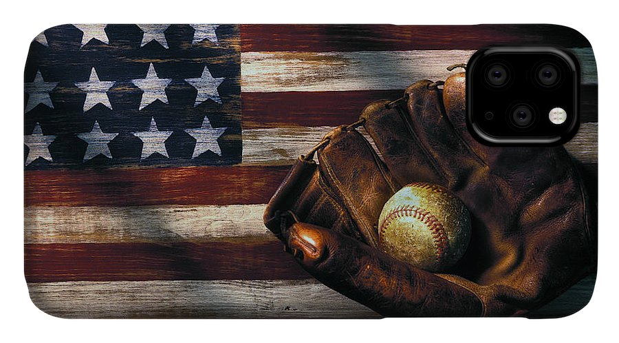 Folk Art American Flag IPhone Case featuring the photograph Folk Art American Flag And Baseball Mitt by Garry Gay