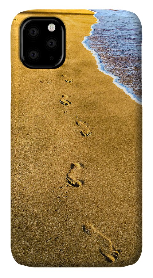 Hawaii IPhone Case featuring the photograph Footprints In The Sand by Bob Mintie