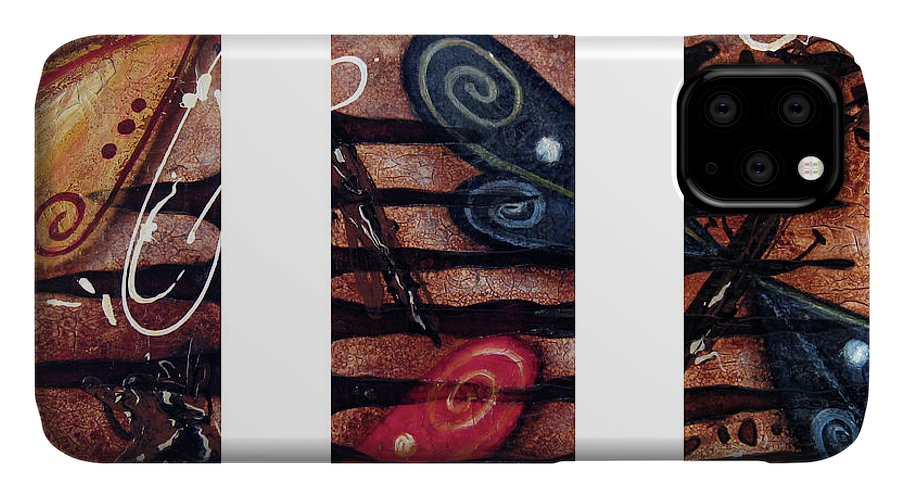 Abstract IPhone Case featuring the painting Fossil by Jill English