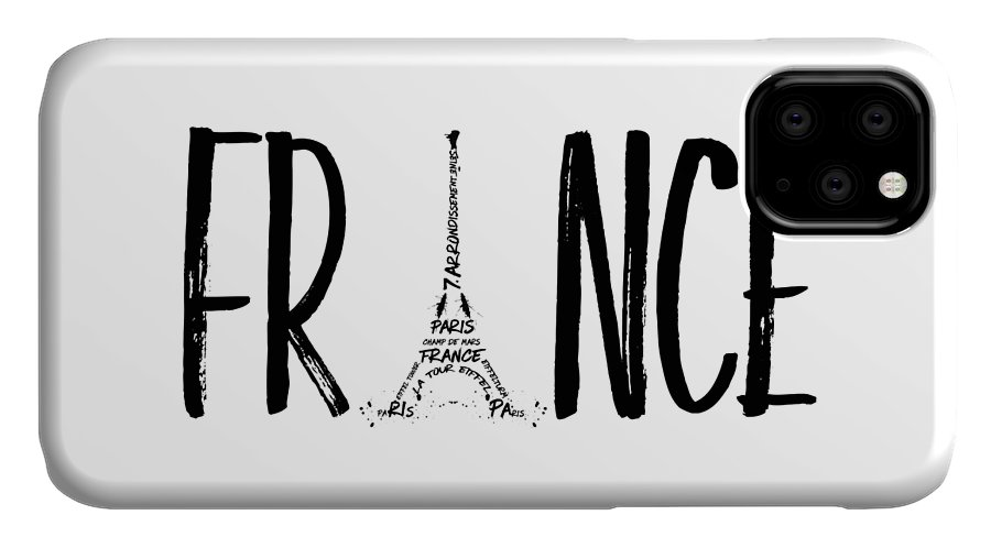 Paris IPhone Case featuring the digital art France Typography by Melanie Viola