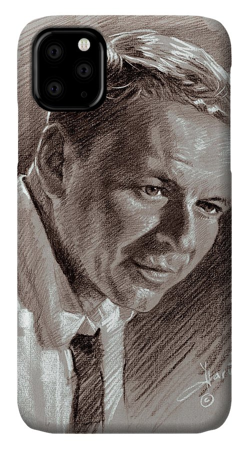 Frank Sinatra IPhone 11 Case featuring the drawing Frank Sinatra by Ylli Haruni