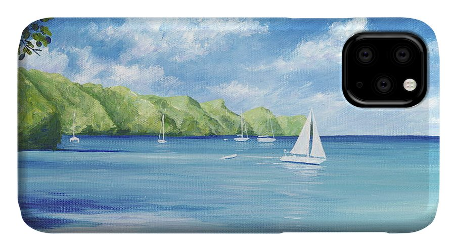 Nautical Seascape IPhone Case featuring the painting Friendship Bay by Danielle Perry