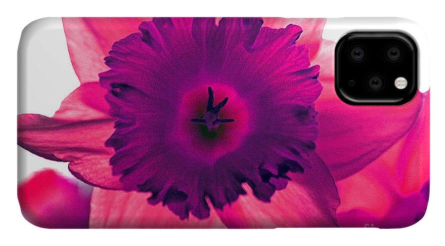 Pink Fuchsia Bloom Flower Daffodil Edit Photograph Digital Modern Edge Nature IPhone Case featuring the photograph Fuchsia by Stevie Ellis