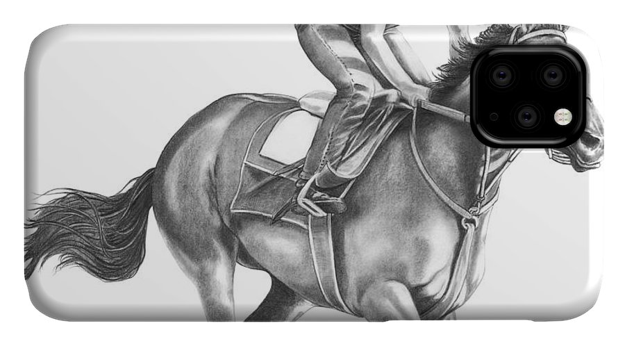 Horse IPhone Case featuring the drawing Full Gallop by Murphy Elliott