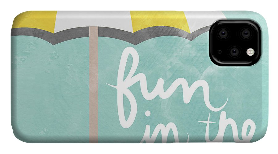 Beach IPhone 11 Case featuring the painting Fun In The Sun by Linda Woods