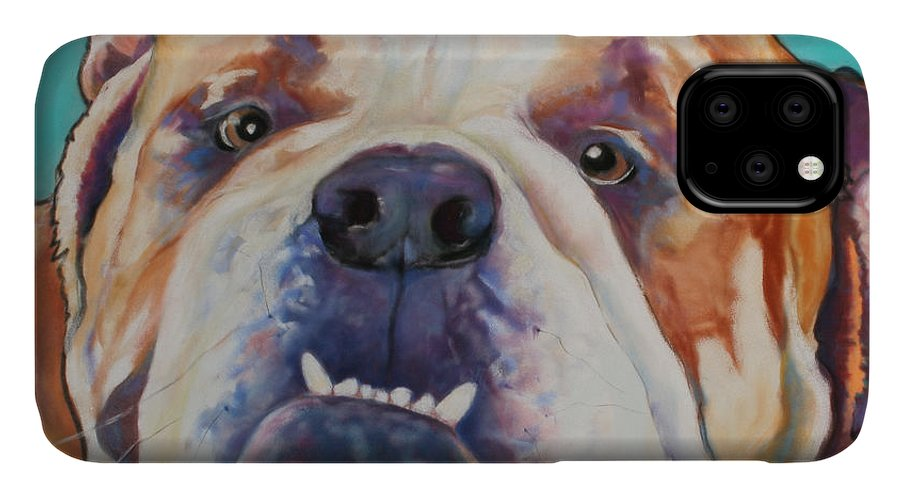 Pat Saunders-white Pet Portraits IPhone Case featuring the painting Game Face  by Pat Saunders-White
