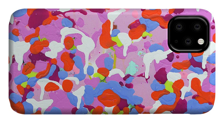 Abstract IPhone 11 Case featuring the painting Garden Camo by Claire Desjardins