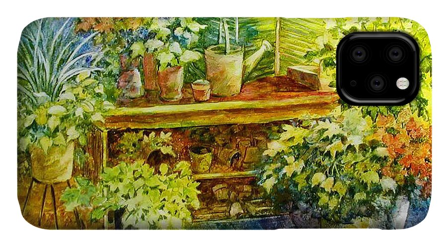 Greenhouse;plants;flowers;gardener;workbench;sprinkling Can;contemporary IPhone Case featuring the painting Gardener's Joy by Lois Mountz