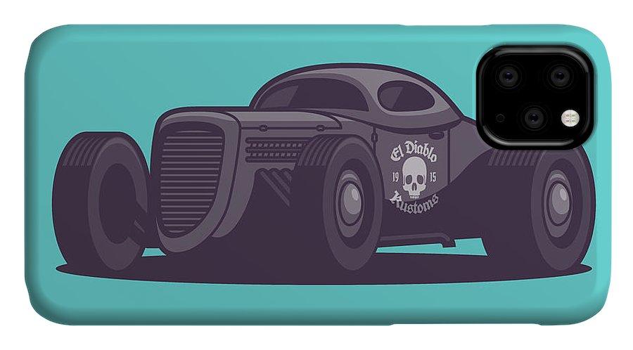 Hot Rod IPhone Case featuring the digital art Gaz Gl1 Custom Vintage Hot Rod Classic Street Racer Car - Aqua by Ivan Krpan