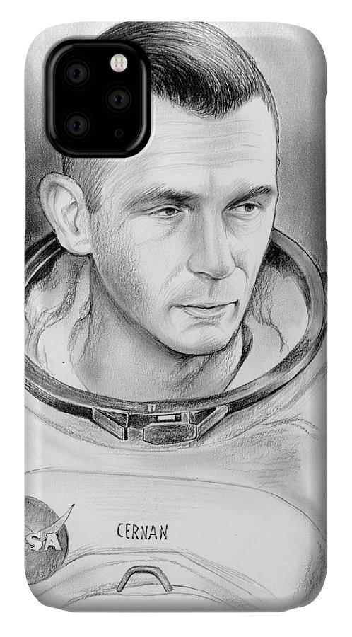 Gene Cernan IPhone Case featuring the drawing Astronaut Gene Cernan by Greg Joens