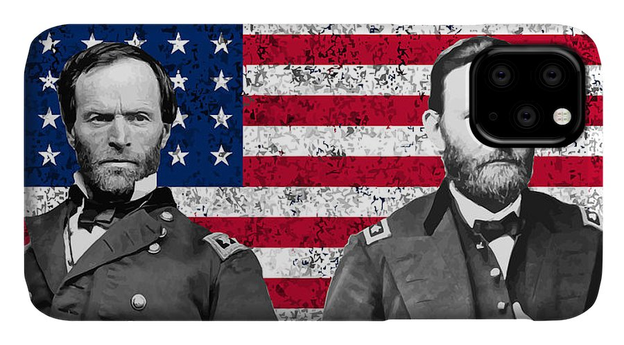 Civil War IPhone 11 Case featuring the painting Generals Sherman And Grant by War Is Hell Store