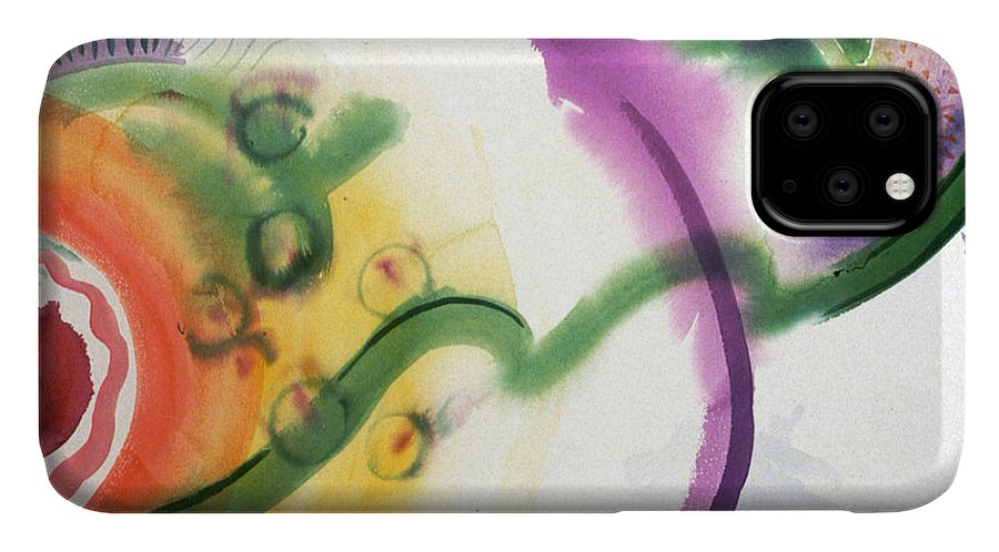 Abstract IPhone Case featuring the painting Geomantic Blossom Ripening by Eileen Hale
