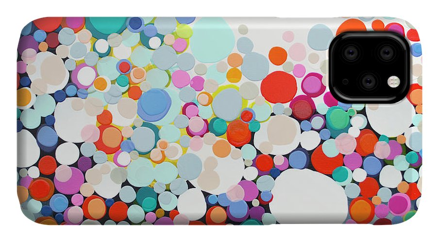 Abstract IPhone 11 Case featuring the painting Get Home Late by Claire Desjardins