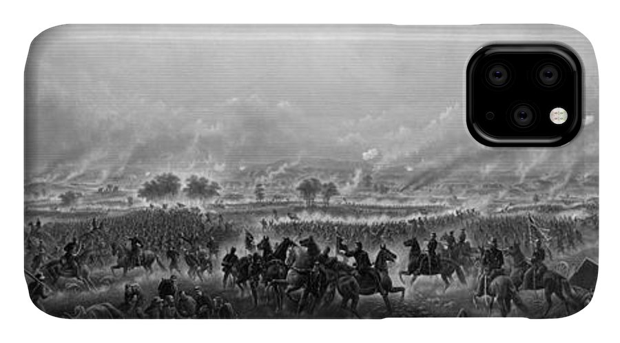 Gettysburg IPhone 11 Case featuring the painting Gettysburg by War Is Hell Store