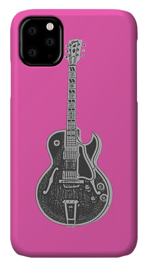 Instrument IPhone Case featuring the digital art Gibson Es-175 Electric Guitar Tee by Edward Fielding