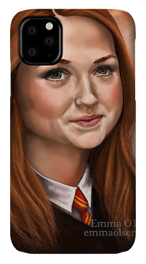 Harry Potter IPhone Case featuring the digital art Ginny Weasley by Emma Olsen