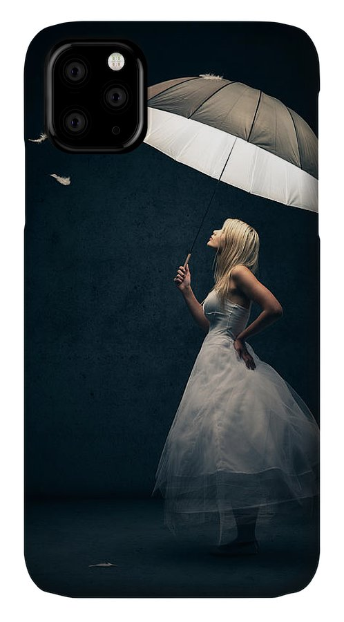 Girl IPhone Case featuring the photograph Girl with umbrella and falling feathers by Johan Swanepoel
