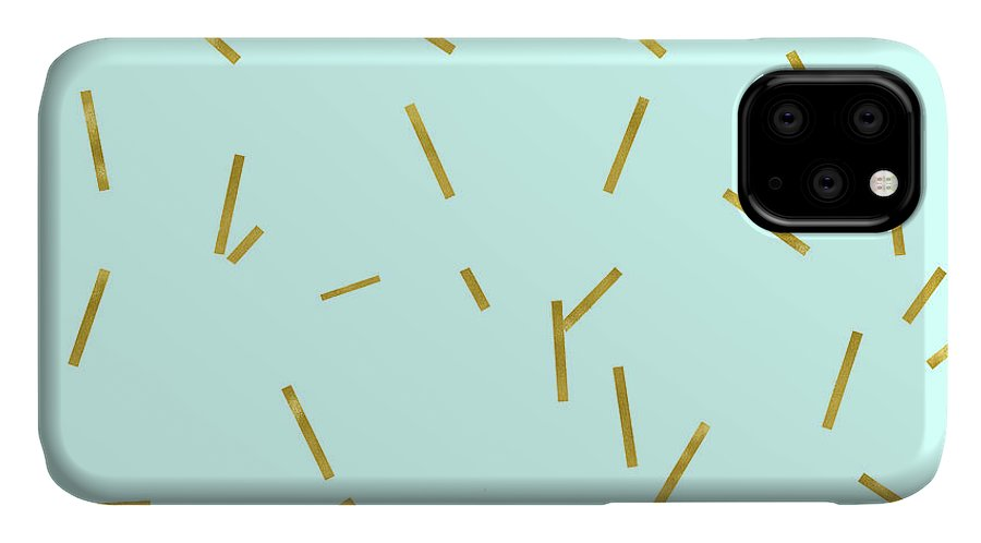 Stix IPhone Case featuring the digital art Glitter confetti on aqua gold pick up sticks pattern by Tina Lavoie